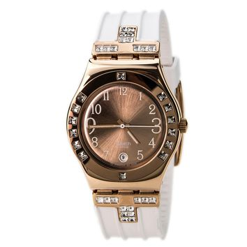 Swatch YLG403 Women's Fancy Me Pink Gold White Rubber Strap Rose Gold Dial Stainless Steel Watch