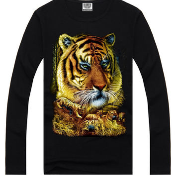 Black Hipster 3D Tiger Print Long Sleeve T-Shirt