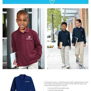 Set of 6 School Uniform Long Sleeve Polo Back To School