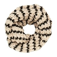 Chunky Striped Infinity Scarf by Charlotte Russe - Ivory Combo