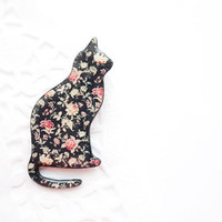 Black cat brooch with vintage floral pattern