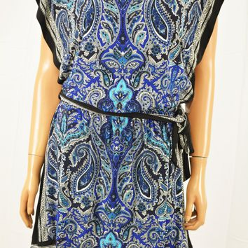 INC International Concepts Blue Paisley Print Blouson Dress Petite PL