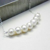 White Pearl Necklace in Sterling Silver, gold filled available, freshwater pearl, bridal, simple, bridesmaid gifts, modern, everyday jewelr
