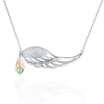 Angel Wings Necklace PLATO H Guardian Angel Wing Drop Pendant Necklace with Swarovski Crystal for Women Fashion jewelry, Bithday Gifts, 18""