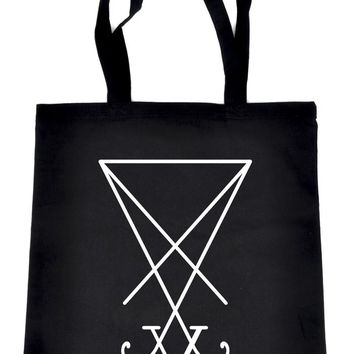 Sigil of Lucifer Black Tote Book Bag School Goth Occult