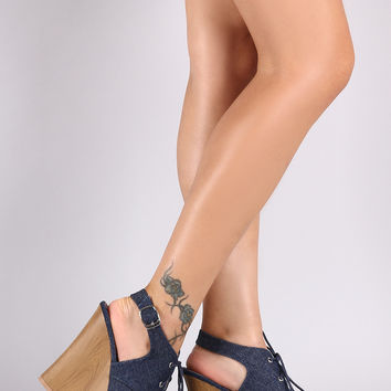 Qupid Denim Slingback Mule Wooden Wedge