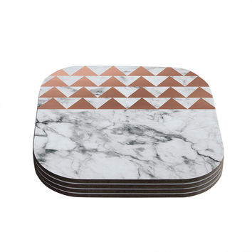 "KESS Original ""Marble & Metal"" White Copper Coasters (Set of 4)"