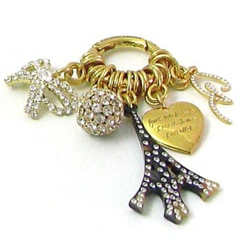 Bag charm vintage CHRISTIAN Lacroix, bag jewelry gold tone and rhinestones from the 80s