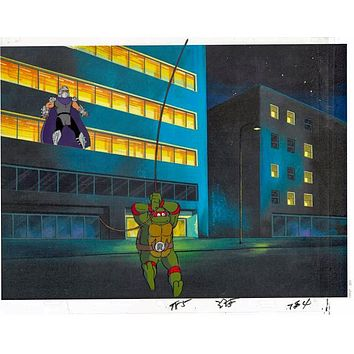 Teenage Mutant Ninja Turtles - Hand Painted Production Animation Cel with Two Paired Pencil Sketches and a Full Color Background by Murakami-Wolf-Swenson Studios