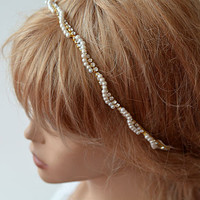 Gold and Pearl Headband, Gold Bridal Hair Accessory, Gold Bridal Hair Crown, Pearls and Crystal Headbands, Wedding Hair Accessory