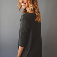 Destination Vail Knit Tunic Charcoal