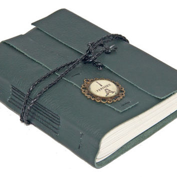 Green Leather Journal with Paris Cameo Bookmark - Ready to Ship