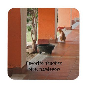 Coaster Set of 6, El Gato, Personalized, Teacher