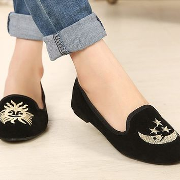 Moon And Sun Black Flat Shoes