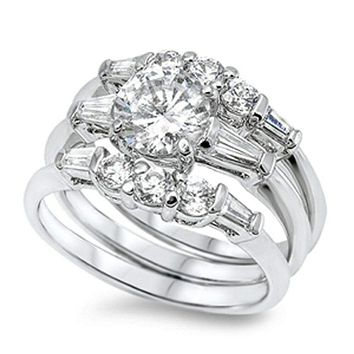 1.25 Carat Three Stone Matching 3 Ring Engagement Ring Set