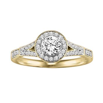 Cherish Always Round-Cut Diamond Frame Engagement Ring in 10k Gold (3/4 ct. T.W.)