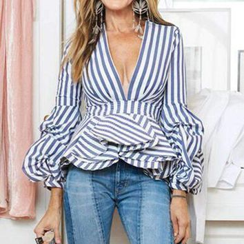 Womens V-Neck Striped Shirt Female Puff Sleeve Ruffles Slim Blouse High Street Tops