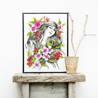 Woman Portrait | Watercolor & ink Illustration | Art print & Posters | Koma Art
