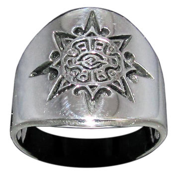 Mayan Sun Symbol Tribal Ring in Sterling Silver 925 Inca Aztec