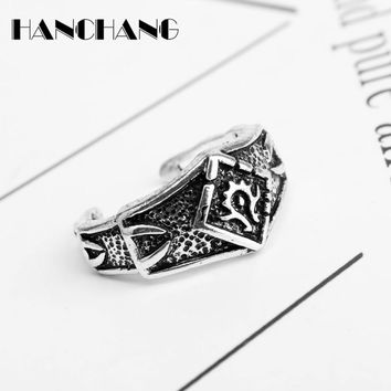 Assassins Creed Logo Rings Men Women Vintage Jewelry Open Finger Rings Hip Hop Cosplay Ring