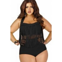 Black Fringed High-Waist Plus Size Bikini Swim Set