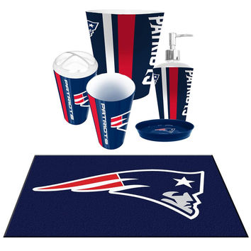 Bon New England Patriots NFL 6pc Bath Accessories Set