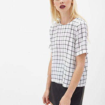 FOREVER 21 Boxy Windowpane Top White/Black