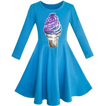 Sunny Fashion Girls Dress Owl Ice Cream Butterfly Sequin Everyday Dress Cotton 2018 Summer Princess Wedding Party Size 7-14