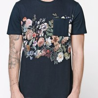 On The Byas Tustin Floral Stripe Pocket T-Shirt - Mens Tee - Black