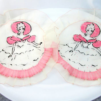 Vintage Doilies Pink & White Sheer Ruffle Doilies With Lady In Pink Ruffle Dress Southern Bell Cottage Chic Item 1588
