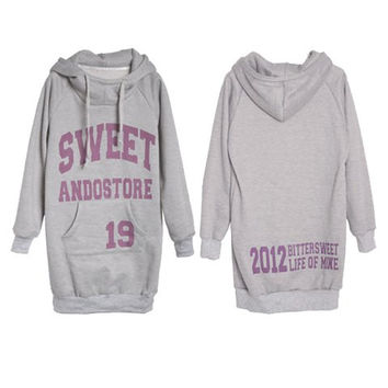 Letters and Numbers Printing Hooded Fleece Coat