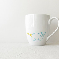 Narwhal Mug - Aqua and Yellow Hand Painted Narwhal on a White Coffee Cup - Unicorn of the Sea Mug