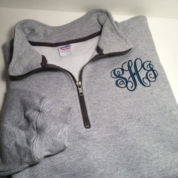 Monogram Quarter Zip, Monogram Quarter Zip Jacket, Monogram Pullover Jacket, Unisex Adult Fit