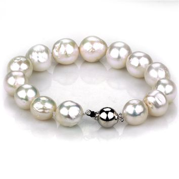 SNH New Design Pearl Bracelet 12mm White Baroque Natural Freshwater Pearl bracelets & bangles for Women's Fine Jewelry