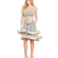 Glamour by Terani Couture Beaded Bodice Tiered Skirt Two-Piece Dress | Dillards