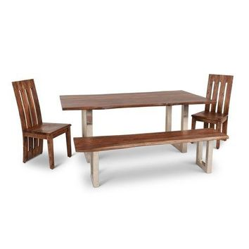 Live-Edge Solid Rosewood 4-Piece Dining Set