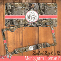 Coral Brown Camo Monogram License Plate Frame Holder Metal Wall Sign Tags Personalized Custom Vanity Country Girl
