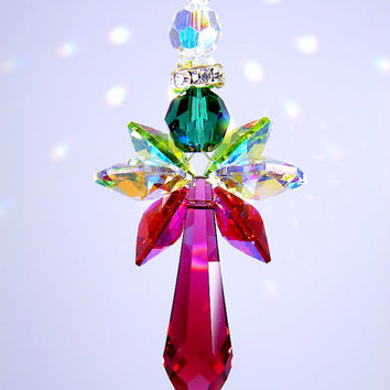 Suncatcher m/w Swarovski Crystal Christmas Bordeaux Red Angel with RARE AB Coated Red and Green Wings Lilli Heart Designs