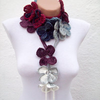 Hand crochet Lariat Scarf White Grey Blue Dark Blue Burgundy  Flower Lariat Scarf Colorful Variegated  winter fashion