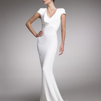 Alexander McQueen Fitted Cap-Sleeve Gown, Natural