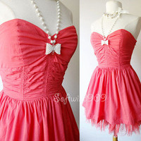NEW Coral Pink Vintage Inspired Woven Mesh Skirt BOHO Strapless Mini Sun Dress