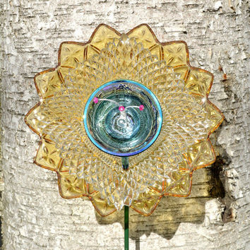 Yellow and Purple, Outdoor Decor, Garden Art, Yard Flower, Floral Home Decor, Bright Colors,  Glass Plate Flower, W/ Stem, Yellow Home Decor