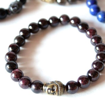 Garnet Gemstone Bracelet with Buddha Charm