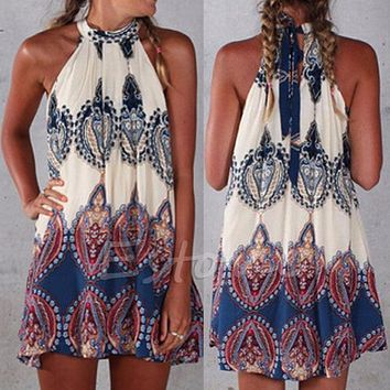 s 2xl sexy women boho summer beach short mini dress sleeveless party cocktail hot