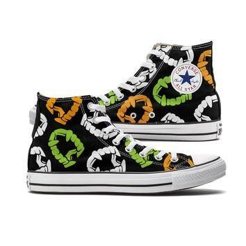 Spooky Color Plastic Fangs Halloween Converse High Tops