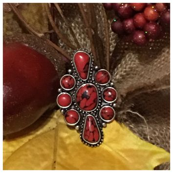 Iconic Red Stone Stretch Ring
