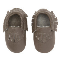 Dark Gray Leather Fringe Baby Moccasins