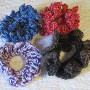 Crochet Hair Scrunchies in Various Colors Blues, Multi (Black and Brown), (Red and Orange), (Purples and White)