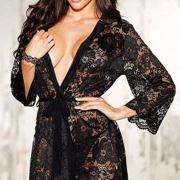 Short Sheer Stretch Lace Robe w/G-String(Large-4X)