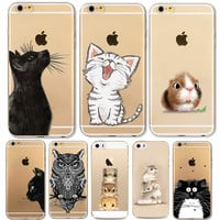 Phone Case For Apple iPhone 6 6S 6Plus 6s Plus 4 4S 5 5S SE Soft TPU Silicon Transparent Cover Cute Cat Owl Animal Phone Cases